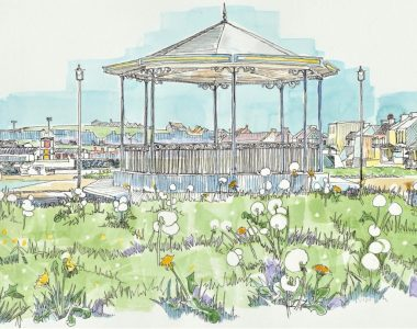 Bandstand with Dandelions Kilkee by Ruth Wood Exclusive to Kilbaha Gallery