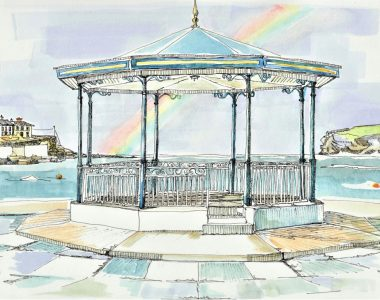 Bandstand with Rainbow Kilkee by Ruth Wood Exclusive to Kilbaha Gallery