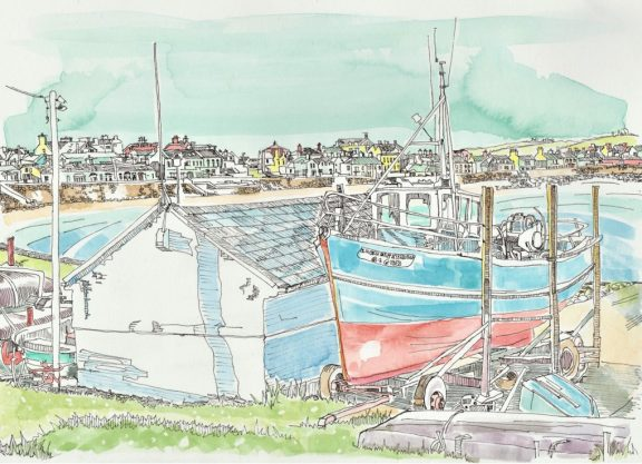Boat House Kilkee Fronting the Beach by Ruth Wood Exclusive to Kilbaha Gallery