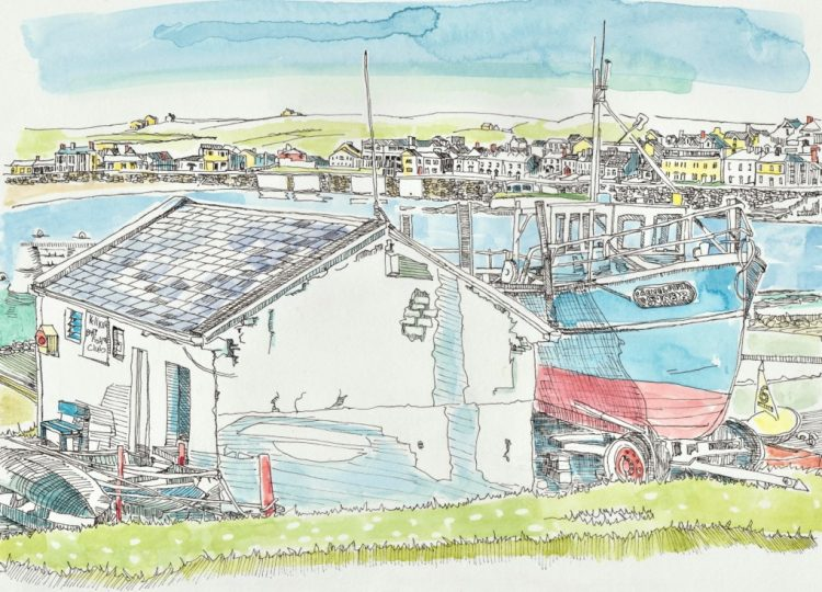 Boat House Kilkee Fronting the West End by Ruth Wood Exclusive to Kilbaha Gallery