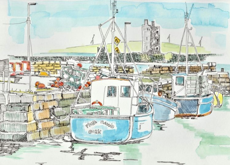Carrigaholt Pier Blue Boat by Ruth Wood Exclusive to Kilbaha Gallery