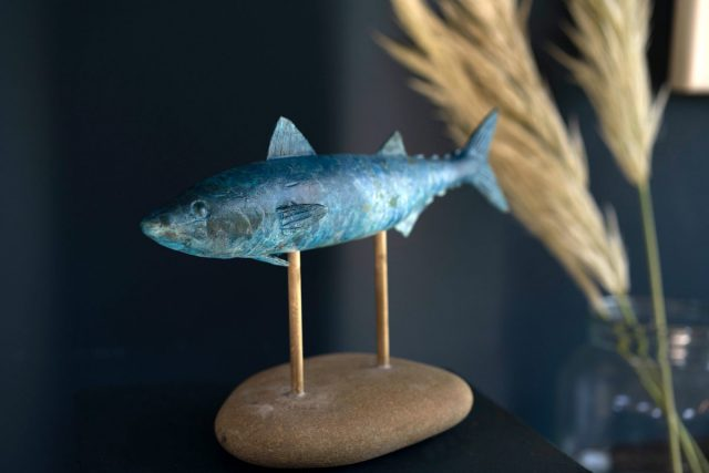 Des Leddin Bronze Mackerel on stone Buy Irish Art Kilbaha Gallery