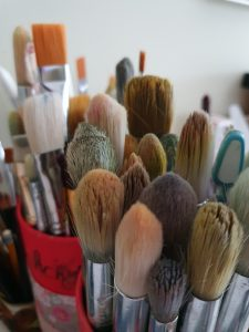 Brushes in Pauline Dunleavy's studio